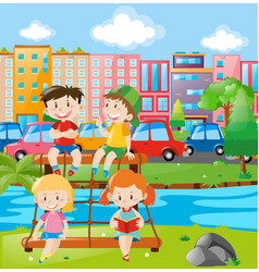 kids at playground in the city vector image