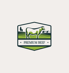 Label with cattle vector