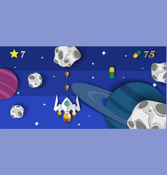 Layered paper cut style space video game vector
