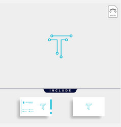 Letter t logo tech wifi design vector
