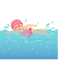 little girl swimming in pool vector image