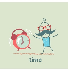 man with an alarm clock ringing vector image