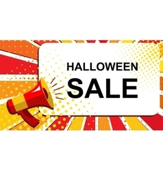 Megaphone with HALLOWEEN SALE announcement Flat vector