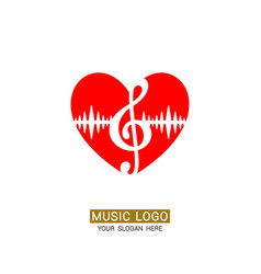 Music logo musical heart with treble clef vector