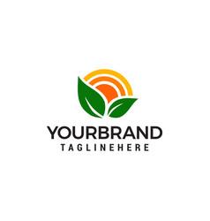 nature green landscape sunrise logo design vector image