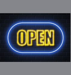 Neon open sign brick wall vector