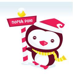 North pole penguin vector
