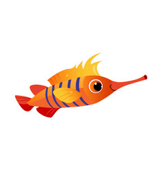orange longnose fish sea tropical aquarium fish vector image