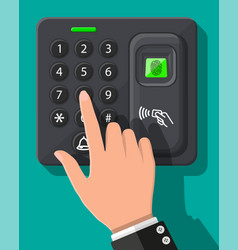 password and fingerprint security device with hand vector image