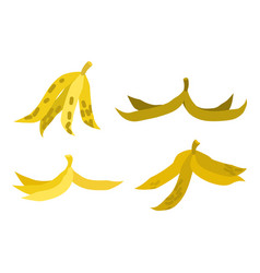 peel banana set trash garbage white background vector image