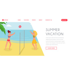 playing volleyball on holiday landing page vector image