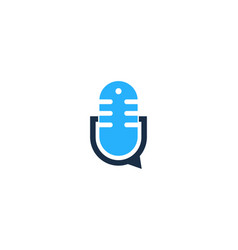 podcast chat logo icon design vector image