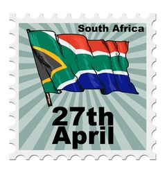 post stamp of national day of South Africa vector image