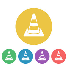road cone set of colored round icons vector image