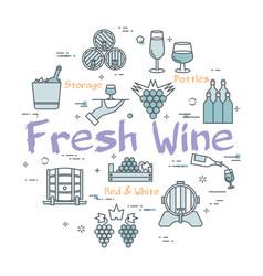 Round concept fresh wine vector
