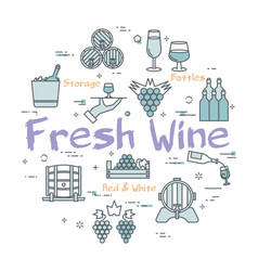 round concept of fresh wine vector image
