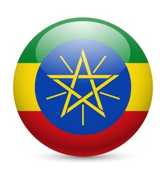 Round glossy icon of ethiopia vector