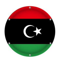 round metallic flag of libya with screws vector image