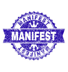 Scratched textured manifest stamp seal with ribbon vector