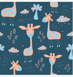 seamless childish pattern with cute giraffe and vector image