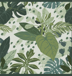 Seamless hand drawn tropical pattern with vector