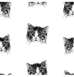 seamless pattern sketch portrait cute kitten vector image