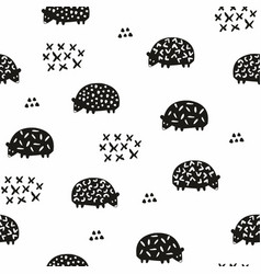 Seamless pattern with silhouettes of hedgehogs vector