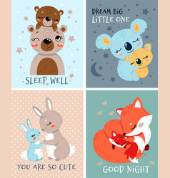 Set cute baby greeting or invitation cards vector