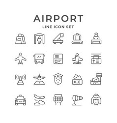 Set line icons of airport vector