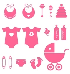 set of baby girl elements icons vector image