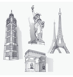 set of famous landmarks vector image