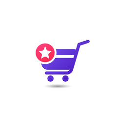 shopping cart favorite item icon design add to vector image