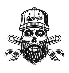 skull of mechanic in baseball cap and two wrenches vector image