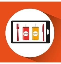 Smartphone order sauces food online vector