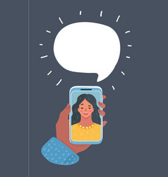smiling girl on video call vector image