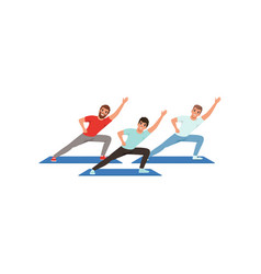 smiling men training in gym three young guys vector image