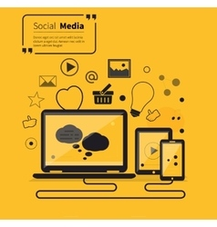 Social networks media online flat style vector