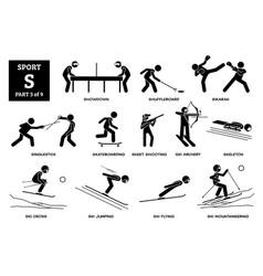 Sport games alphabet s icons pictograph showdown vector