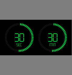 stopwatch digital green countdown timer vector image