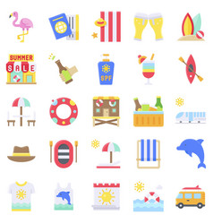 summer vacation related icon set 3 flat style vector image