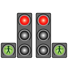 Traffic light in the city vector