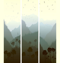Vertical banners mountains wood vector