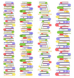 Vertical straight seamless pile of books vector