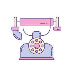 vintage telephone phone fill and line vector image