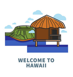 welcome to hawaii promo poster with nature and vector image