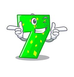 Wink number seven sign on door cartoon vector