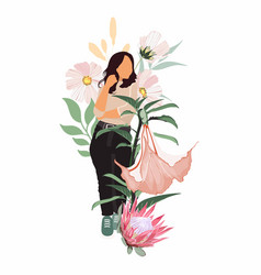 woman in tropical leaves flowers etc vector image