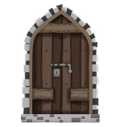 wooden door with metal lock vector image