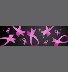 world cancer day pink ribbons on black background vector image