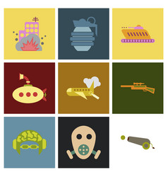 World war line icons minimal pictogram design vector
